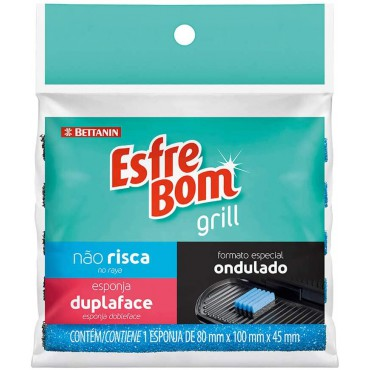 Esfrebom Esponja Grill Dupla Face Bettanin Azul - 10 x 8 x 4,5cm  c/ 1 un