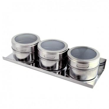 kit com 3 peças porta condimentos de inox magnético - Clink