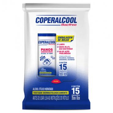 Coperalcool Bacfree  Panos Umedecidos 70º Flow Pack 15 lenços