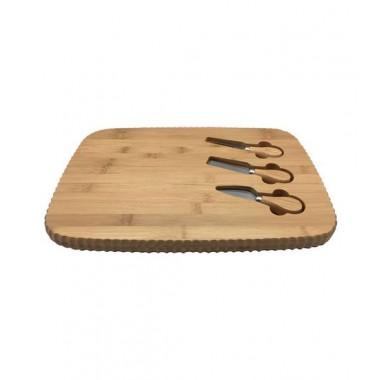 Tabua canela com kit de faca, espátula e garfo de bambu - OIKOS