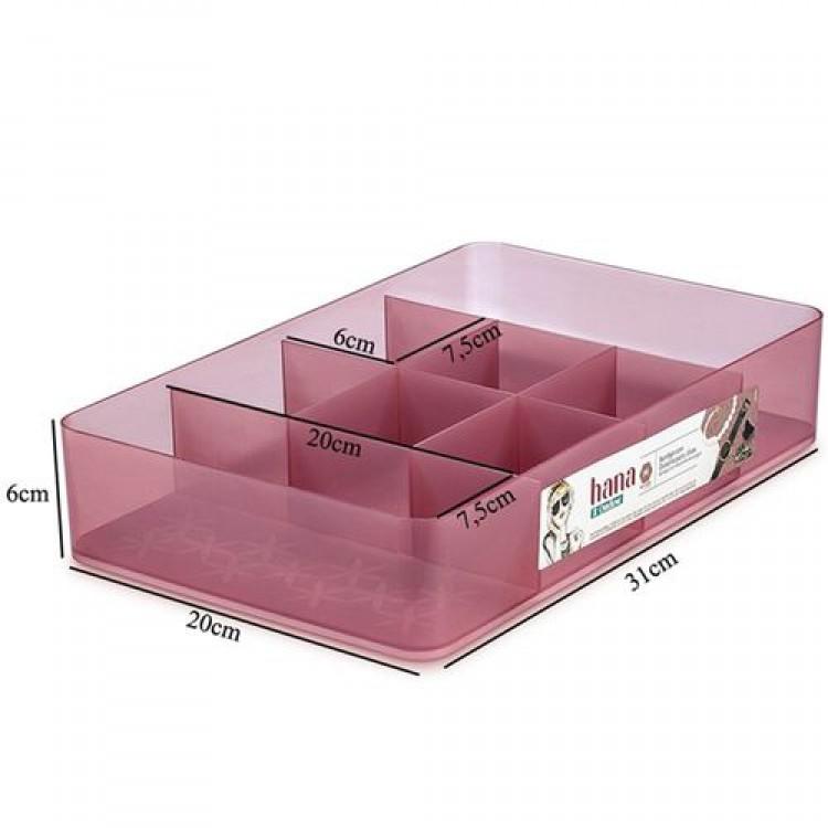 Caixa com Divisórias com tampa M Hana Ordene - Rosa 31,5 x 20 x 6,2 cm