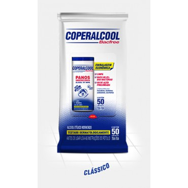 Panos Umedecidos Coperalcool 70° Bacfree  Embalagem Econômica 50 unidades